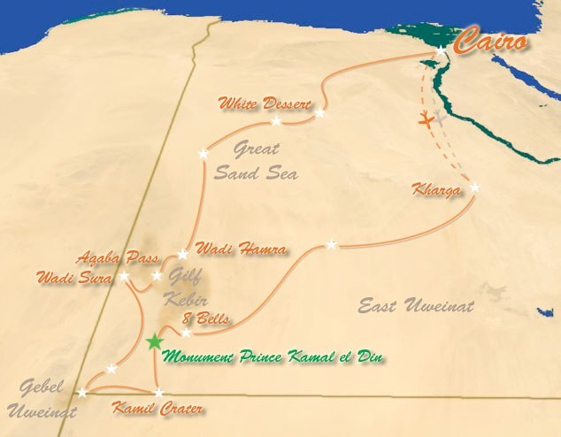 Mapa Expedición Kamal (Egipto)