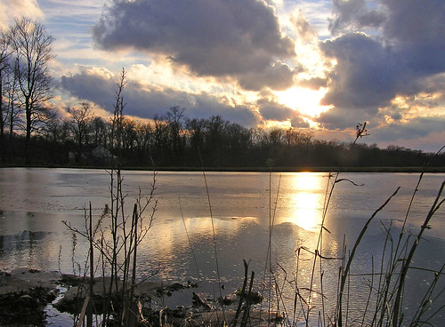sunset ohio sky sun sunlight reflection ice water sunshine silhouette clouds reflections evening twilight pond silhouettes ponds