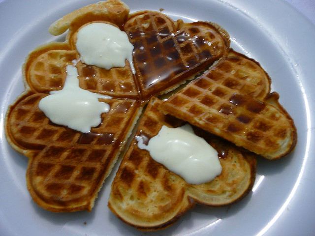 Waffles with maple syrup and cream | Flickr - Photo Sharing!