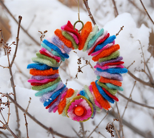 Mini Felted Wool Wreath