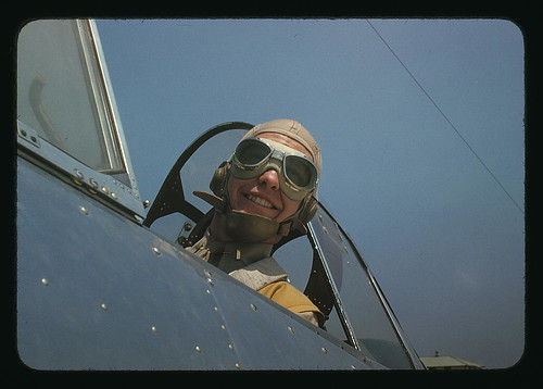 Marine lieutenant, glider pilot in training, ready for take-off at Page Field, Parris Island, S.C.  (LOC)