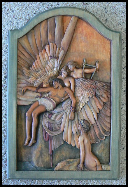 Relief wood carving icarus by deb flickr
