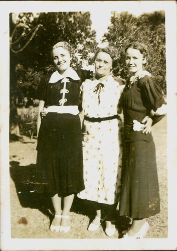 Three women in dresses
