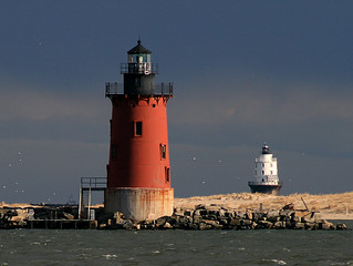 Delaware Breakwater Lighthouse with Harbor of Refuge Lighthouse in the distance