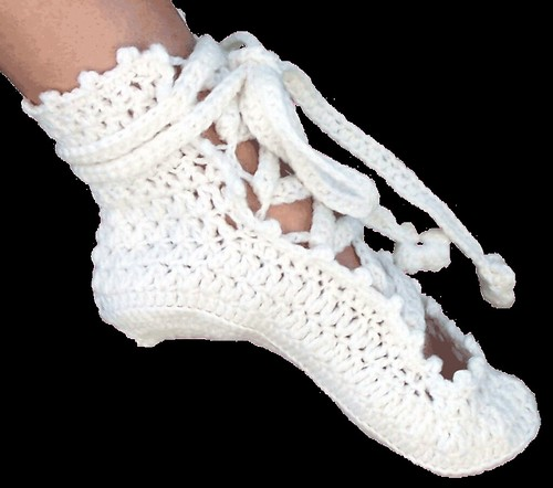 Free Crochet Pattern For Baby Ballet Flats : Ballerina Slippers - Crochet Pattern Flickr - Photo Sharing!