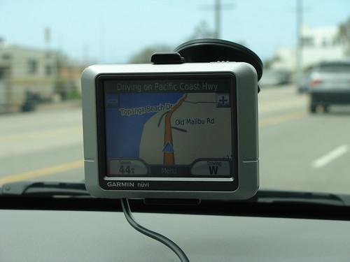 Sat Nav inside the front windscreen of a car