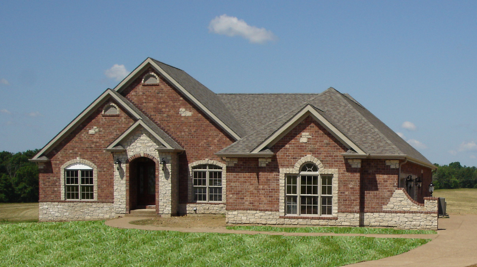 Front Elevation Stone Work : Front elevation full brick with stone accents flickr