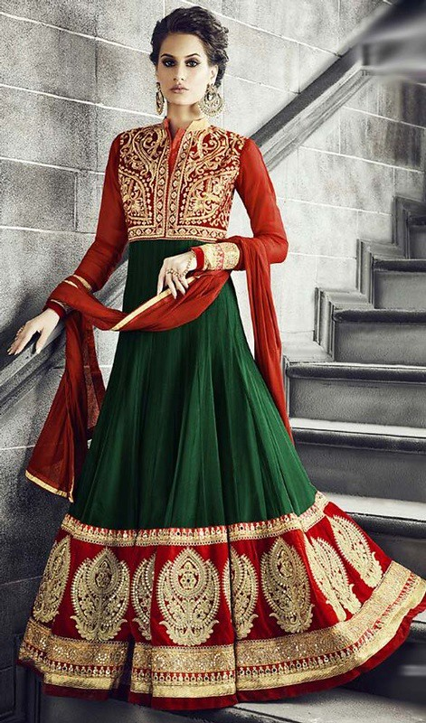 Green and Red Color Georgette Floor Length Anarkali Dress