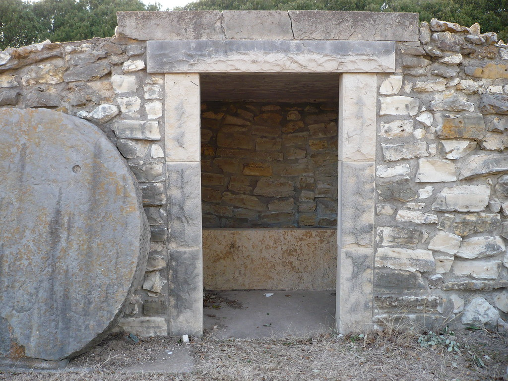 Empty tomb with stone rolled away
