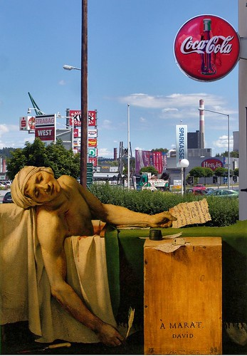 I'VE BOUGHT TO MUCH, THEREFORE I DIE . Death of Marat in shopping city of Voitsberg/Styria by LitterART