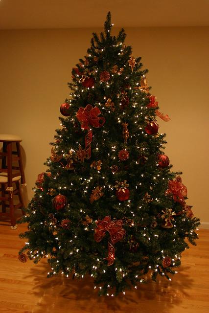 Real Xmas Tree Decorated No Backround