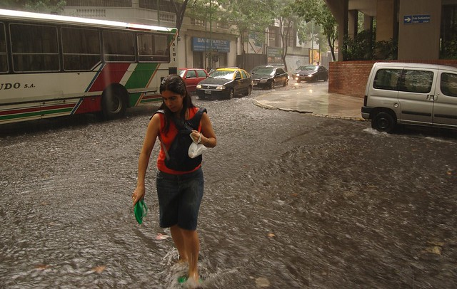Flooding in the neighborhood of Belgrano during a severe storm. (Photo: Beatrice Murch)