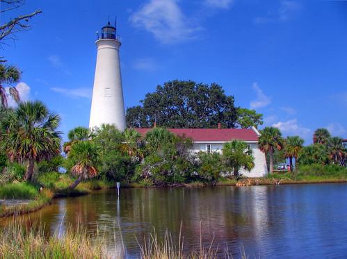 lighthouse reflection water landscape scenery florida scenic bluesky palmtree tropical hdr gulfcoast stmarksnationalwildliferefuge photomatix stmarkslighthouse floridapanhandle top20lh stmarksnwr apalacheebay