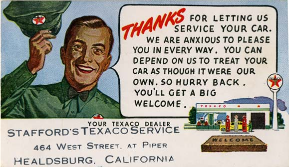 Stafford's Texaco Service - Healdsburg, California U.S.A. - date unknown