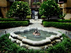 courtyard, backyard, garden, water feature, yard, estate, landscaping, fountain, pond,