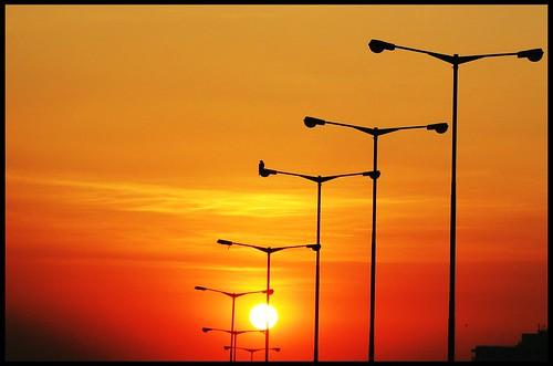 sunset sun streetlight bangalore karnataka canons3is krishnarajapuram