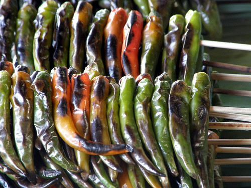 Roasted chilis in Chiang Mai market