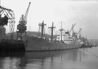 A cargo liner from East Africa at the Corporation Quay, Sunderland