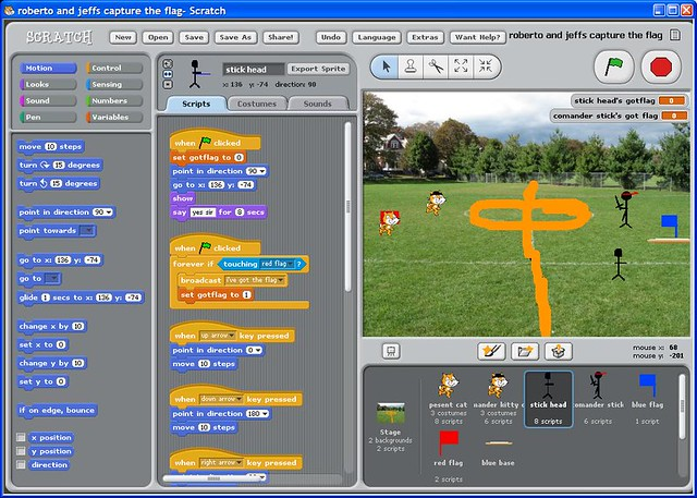A capture the flag game created by students of Richard Bullington-McGuire's Scratch class