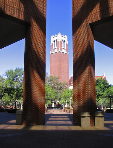 shadow red building brick tower shadows florida universityofflorida gainesville sunny bluesky historic belltower fl carillon centurytower cise nationalregisterofhistoricplaces lifelonglearning photocontestcog09
