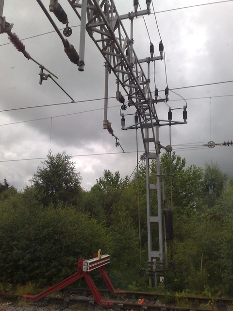 Overhead Electric Cable : Overhead electric cables on train track just outside