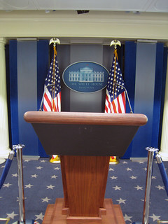 empty white house podium