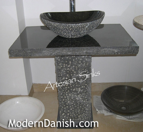 granite stone modern bathroom vessel sink with pedestal va? Flickr ...