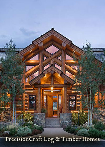Handcrafted Custom Log Home In Idaho Front View