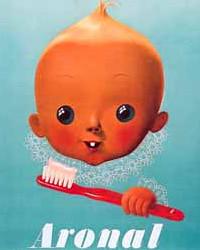 Vintage European Baby Toothbrush Poster