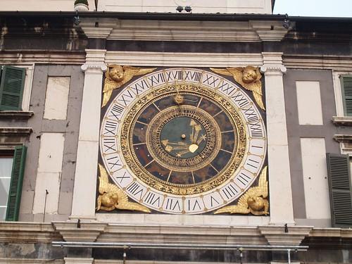 Brescia clock in Piazza della Loggia