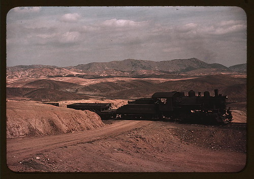 A train bringing copper ore out of the mines, Ducktown, Tenn. Fumes from smelting copper for sulfuric acid have destroyed all vegetation and eroded the land  (LOC)