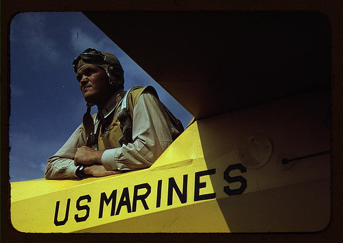 Marine glider pilot in training at Page Field, watching take-offs, Parris Island, S.C.  (LOC)