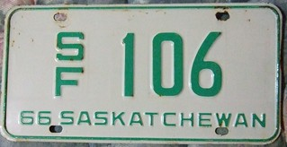 SASKATCHEWAN 1966 ---SPECIAL FARM LICENSE PLATE