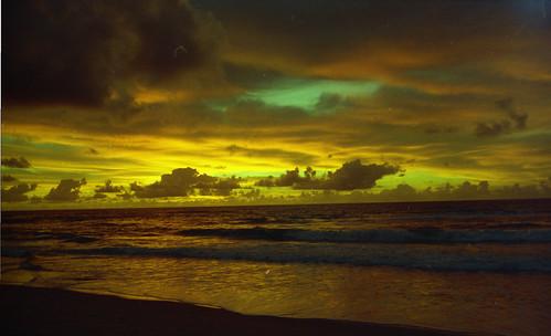 Green sunrise at Algodoes Beach