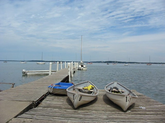 Boats on Lake Mendota Dock