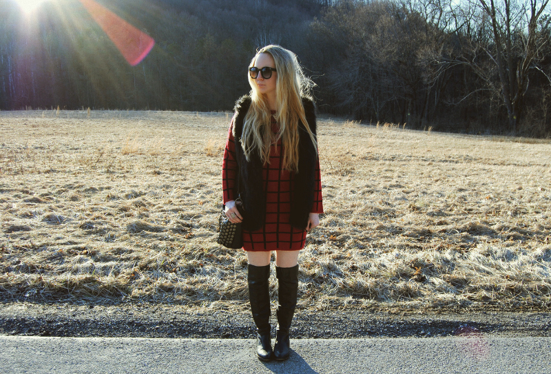 RedSweaterDress-ShoemintLeatherBoots-BlackFauxFurVest