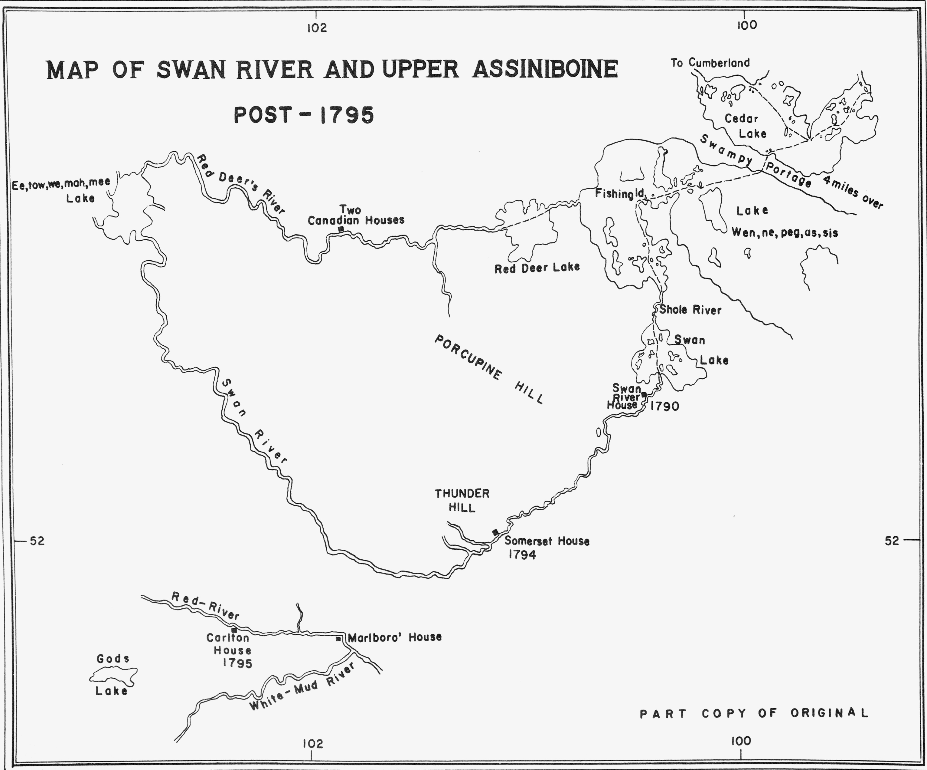 map of swan river and upper assiniboine river  peter