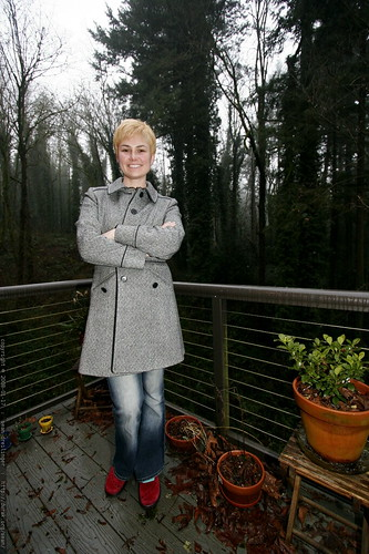 blonde hair, grey coat, and red shoes    MG 9166