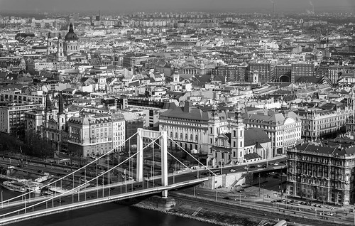 budapest city cityscape blackandwhite mono monochrome nikon d750 vista view viewpoint buildings architecture bridge europe hungary danube river water