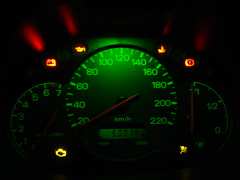 odometer, gauge, measuring instrument, speedometer, tachometer,