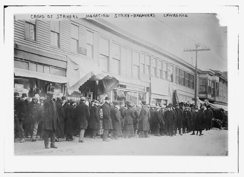 Crowd of strikers menacing strike-breakers, Lawrence  (LOC)