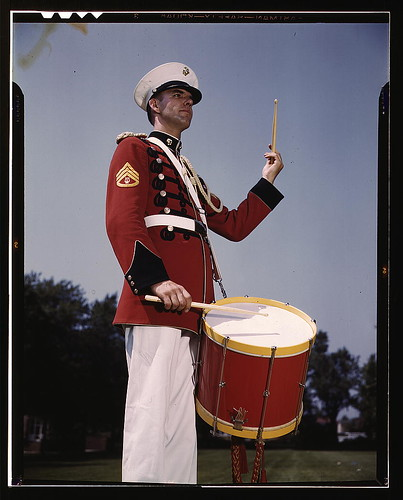 [U.S. Marine Band drummer, probably at the Marine Barracks, Washington, D.C.]  (LOC)