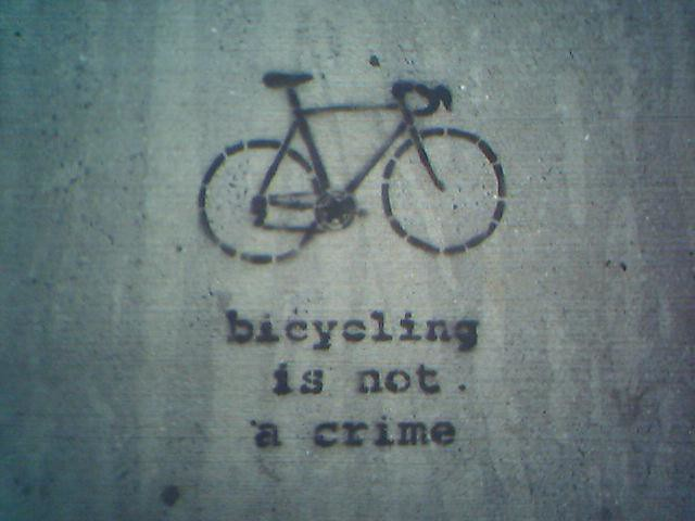 Janet Bike Girl Stencil, Critical Mass New York City