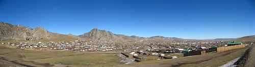 panorama asia view central mongolia tsetserleg arkhangai