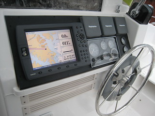 Garmin 3210 chartplotter at helm