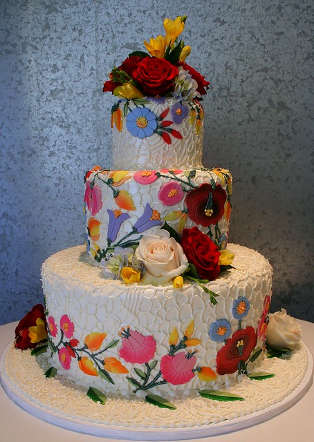 Floral And Lace Wedding cake with edible decoration depicting a lace