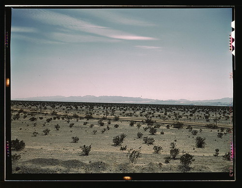 Mojave Desert country, crossed by Santa Fe R.R., Cadiz, Calif.  (LOC)