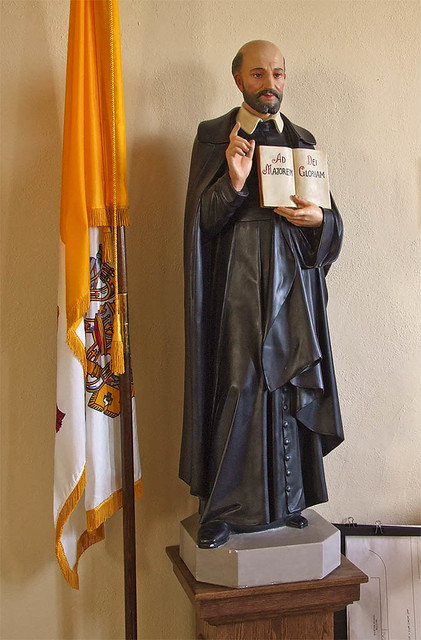 Saint Ignatius Loyola Roman Catholic Church, in Concord Hill, Missouri, USA - statue of Saint Ignaius.jpg