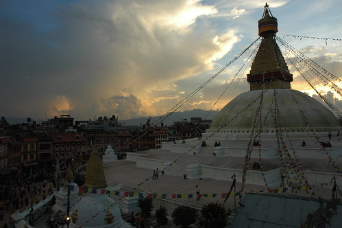 Marvelous clouds over the Great Wish Fullfilling Stupa on the east side, Boudha, sunset, Kathmandu, Nepal by Wonderlane
