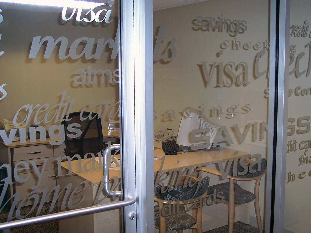 Frosted glass vinyl graphics privacy film impact signs glass vinyl film frosted credit center etched look vinyl 1 photo frostedetched look vinyl on interior windows rubansaba